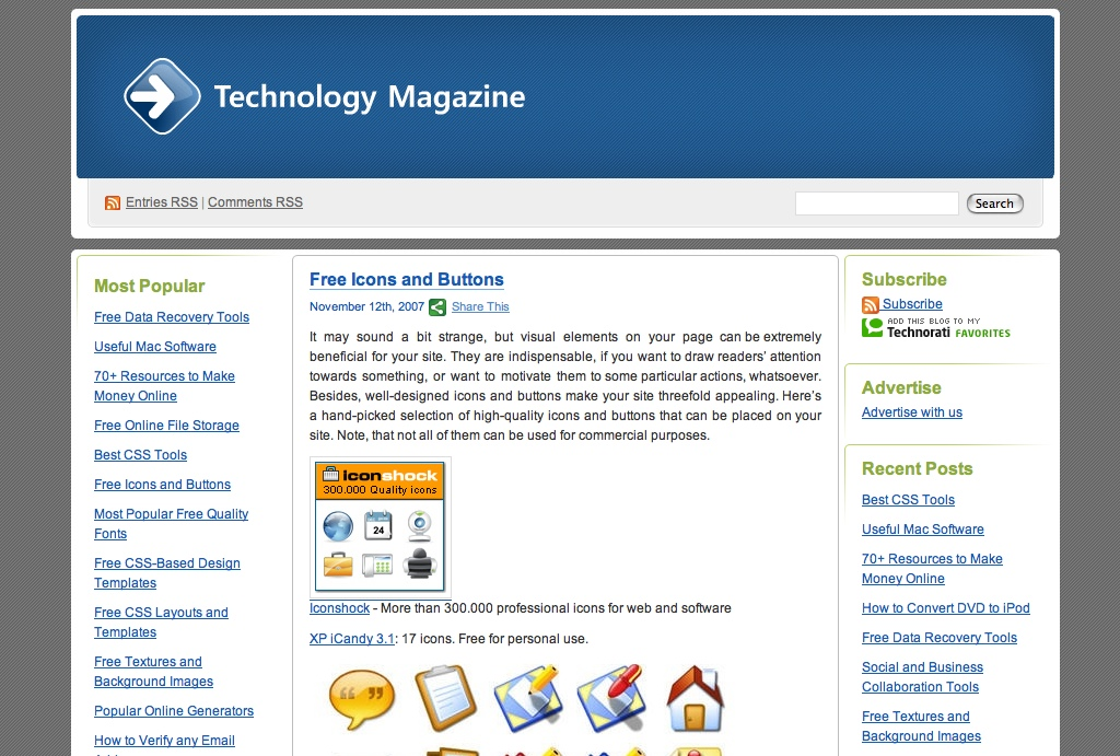 Free Icons and Buttons / Technology Magazine